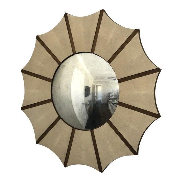 Made Goods Daniela Sunburst Convex Mirror in Vintage Faux Shagreen For Sale