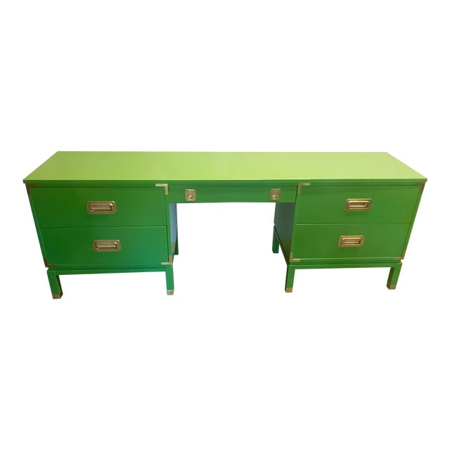 Green Lacquered Campaign Desk For Sale