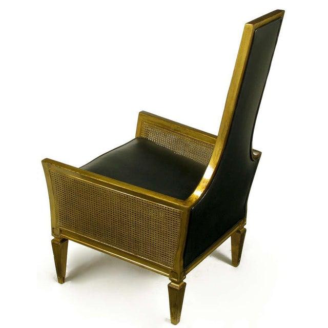 1960s Antique Gilt Finish & Black Naugahyde Moorish Style Lounge Chair For Sale - Image 5 of 10