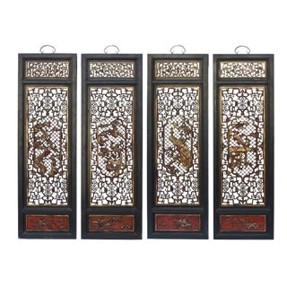 Chinese Flower Birds Red Black Golden Wood Wall Panel Set For Sale
