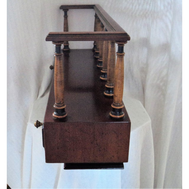 Stiffel 20th Century British Colonial Stiffel Solid Walnut Wood Ornate Wall Hanging Book Shelf With One Drawer For Sale - Image 4 of 12