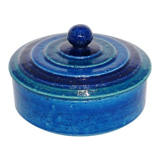 Mid Century Bitossi Rimini Blue Italian Jar Box With Lid Italy For Sale
