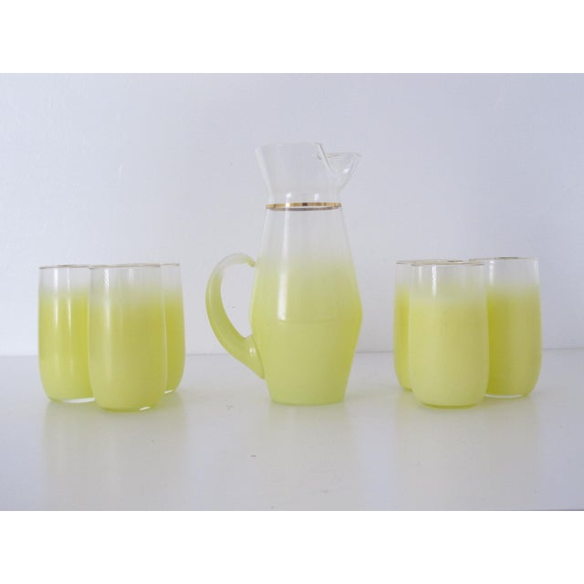 1970s Yellow Blendo Pitcher and Cups - Set of 7 - Image 2 of 9