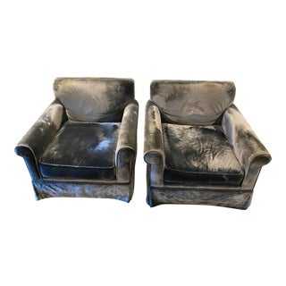 1990s Vintage Blue Gray Velvet Lounge Chairs - a Pair For Sale