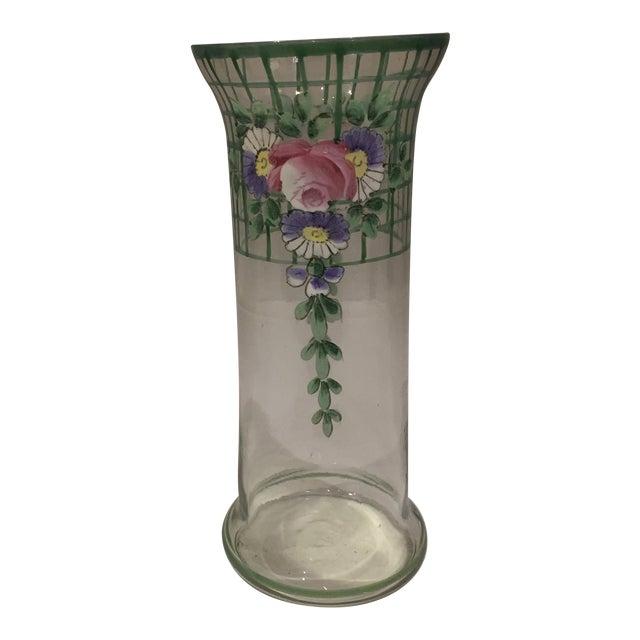 Antique Bohemian Hand-Painted High Enamel Glass Vase For Sale