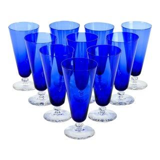 Vintage Cobalt Crystal Juice Glasses - Set of 10 For Sale