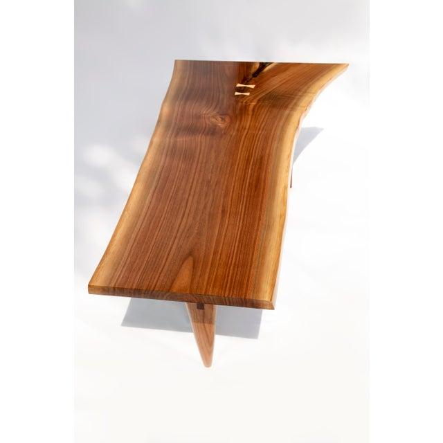 Mid-Century Modern Walnut Live Edge Slab Coffee Table - Image 5 of 6