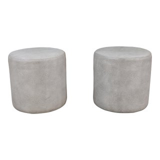 Modern Gray Leather Stools- A Pair For Sale