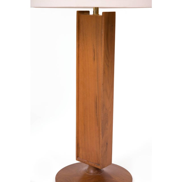 Mid-Century Modern Walnut Mosaic Table Lamp For Sale - Image 3 of 4
