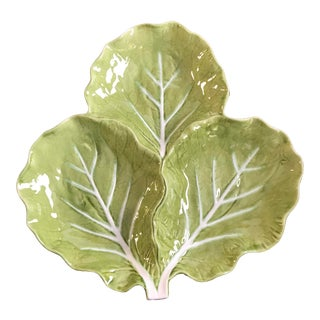 Mid-Century Bordallo Pinheiro Majolica Green Cabbage Leaf Three Section Serving Dish For Sale