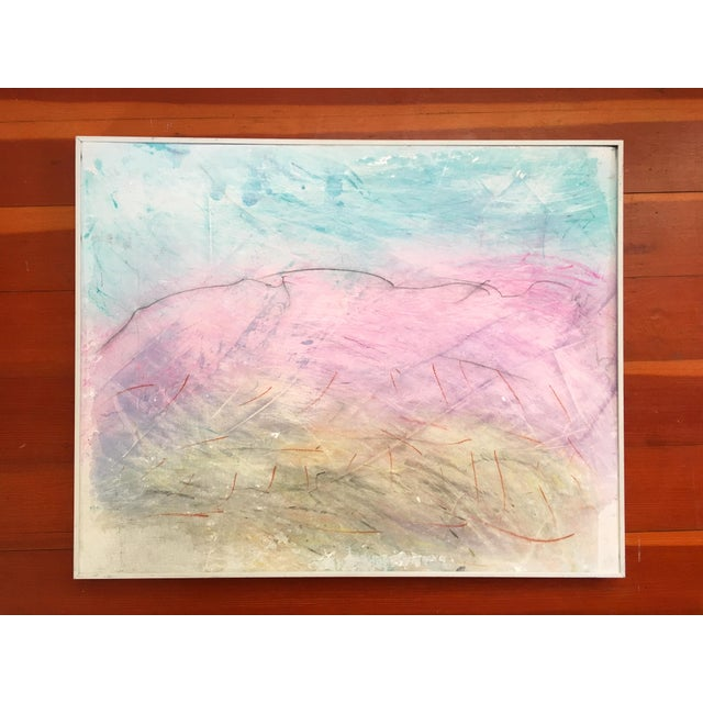Framed Abstract Pastel & Plaster on Canvas Board - Image 2 of 6