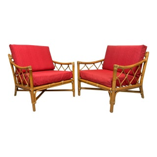 Rattan Tiki Style Chinoiserie Lounge Chairs For Sale