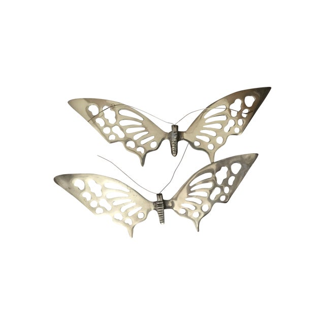Brass Wall Hanging Butterflies- a Pair - Image 1 of 5