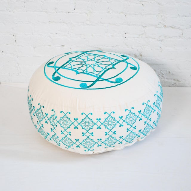 Boho Chic Turquoise Selima Floor Pillow For Sale - Image 3 of 3