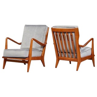 1950s Vintage Gio Ponti Pair of Sculptural Armchairs- Pair For Sale
