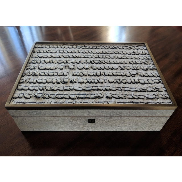 Exquisite hand-crafted vintage luxury keepsake jewelry box in a natural toned shagreen with exotic feather decorated...