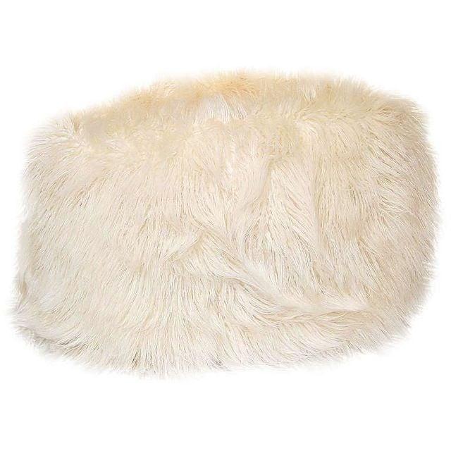 Faux White Flokati Pouf For Sale