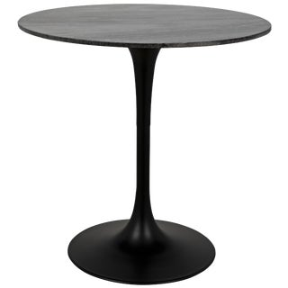 """Laredo Bar Table 40"""", Black Metal With Black Stone Top For Sale"""