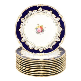 Royal Crown Derby Dessert Service with Cobalt Blue, Gold & Hand-Painted Flowers For Sale