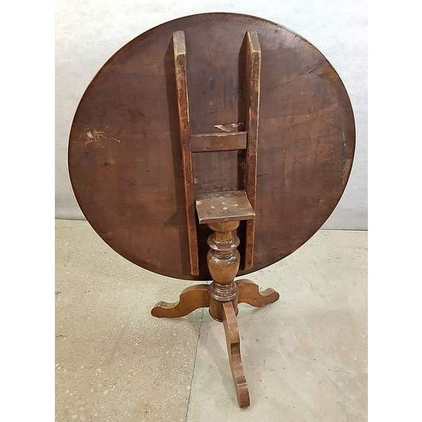Antique French Walnut Round Tilt Top Occasional Side Breakfast Table For Sale - Image 11 of 13