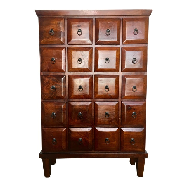 Vintage Mahogany Apothecary 20 Drawer Cabinet For Sale