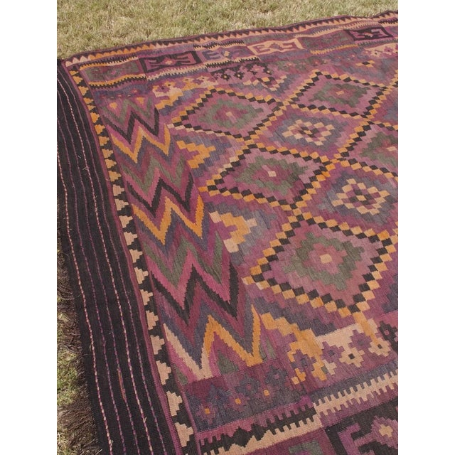 "Purple Diamond Kilim Rug - 8'8"" x 15'1"" - Image 10 of 11"