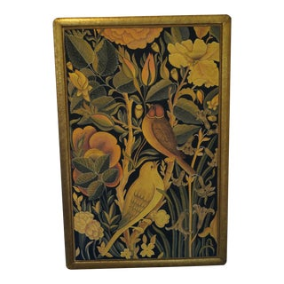 1960s Vintage Mango Birds Fabric Panel Painting For Sale