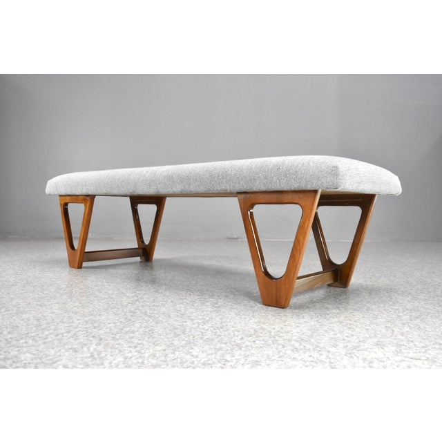 1960s Mid-Century Modern Upholstered Bench For Sale - Image 5 of 10
