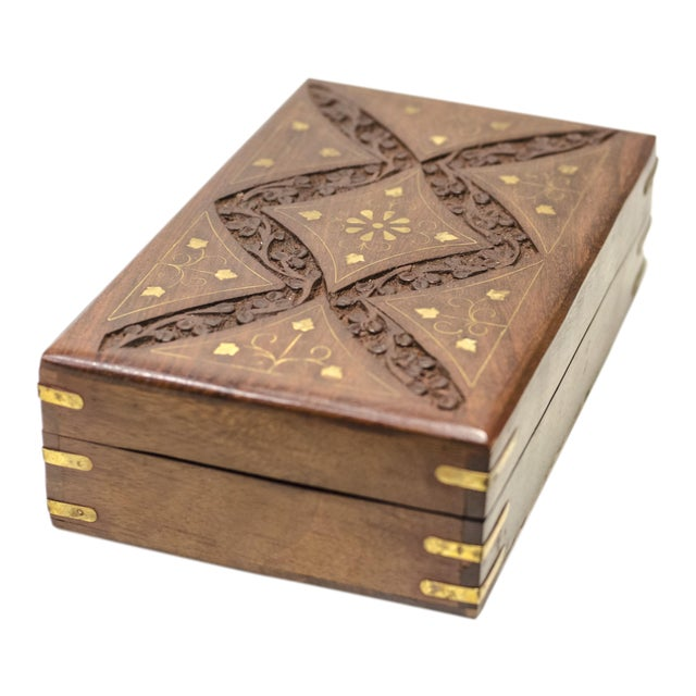 Engraved Wood Moroccan Jewelry Box - Image 1 of 7