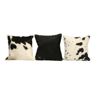 Black And White Cow Hide Pillows - Set of 3 For Sale