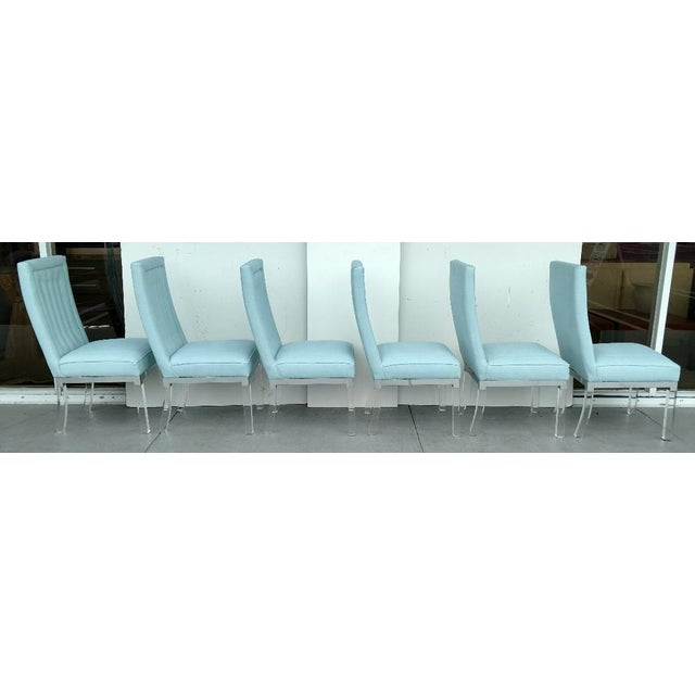 These are a beautiful set of 6, high-back, Lucite legged dining chairs , by Charles Hollis Jones. The chairs are from the...