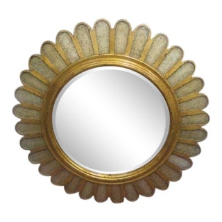 Vintage Large Gold Frame Flower Mirror For Sale