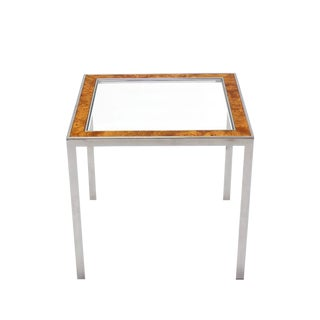 Chrome Burl Wood Glass Square Side Table For Sale