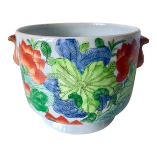 Vintage Chinoiserie Hand-Painted Cachepot For Sale