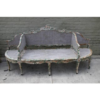 19th C. Painted Carved Wood & Cane 3-Section Sofa Preview
