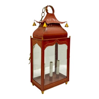 Chinese Chippendale Style Tole Pagoda Lantern For Sale
