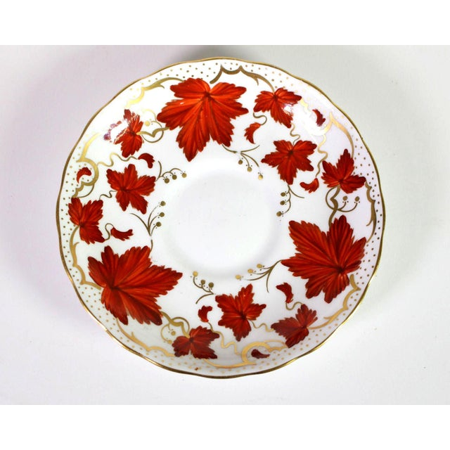1950's Royal Chelsea English Fine Bone Porcelain China Maple Leaf Tea Cups & Saucers - Set of 5 For Sale In Los Angeles - Image 6 of 8