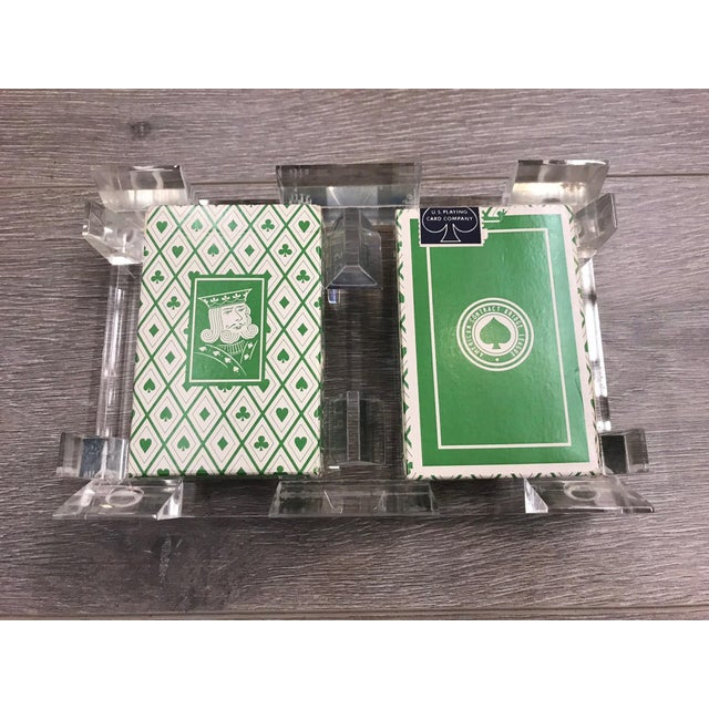 Vintage lucite playing card holder with unopened abcl vintage vintage lucite playing card holder with unopened abcl vintage playing cards business card holder colourmoves