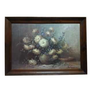 "Vintage Mid-Century ""Blooming"" Fontana Framed Floral Color Print For Sale"