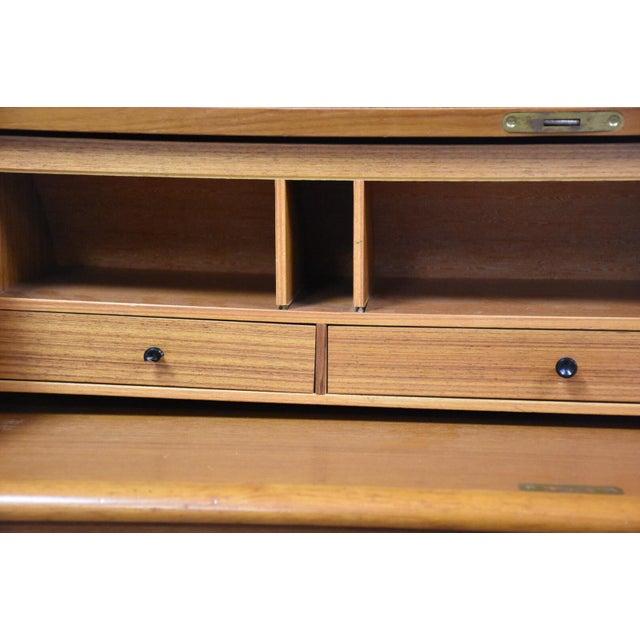 Mid-Century Modern Modern Teak Drum Roll Secretary Desk For Sale - Image 3 of 13