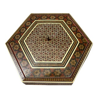 Middle Eastern Inlaid Marquetry Box For Sale