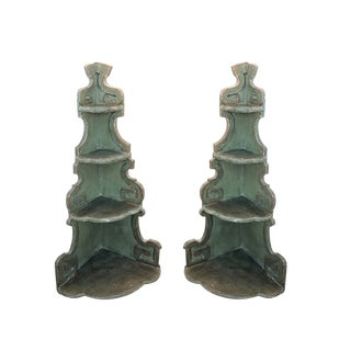 18th Century Italian Painted Corner Shelves - a Pair For Sale