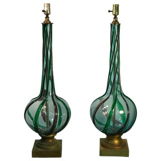 Pair of Modern Tri-Color Twist Murano Lamps For Sale