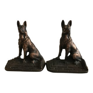 Mid-Century, Copper-Washed German Shepherd Bookends - a Pair For Sale