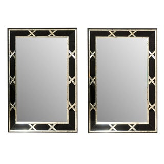 Vintage Silver and Black X-Pattern Mirrors-a Pair For Sale