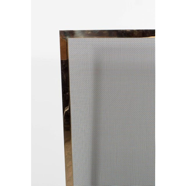 Ultra Chic Custom Minimalist Fire Screen Polished and Lacquered Brass For Sale - Image 4 of 10