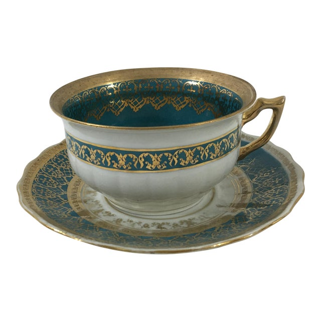 Cappodimonte Porcelain Coffee Cup and Saucer For Sale