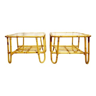 Brown Jordan Rattan Bamboo Glass Top Side Tables / Coffee Table - Pair For Sale