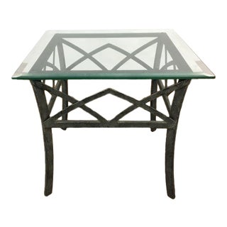 Contemporary Glass Topped Metal End Table