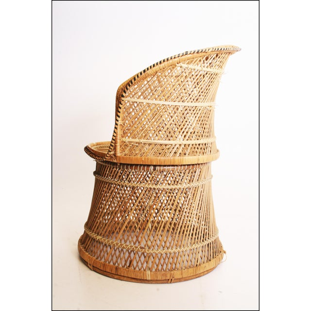 Vintage Boho Chic Wicker Barrel Chair For Sale - Image 4 of 11